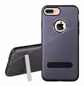 Dafoni Level Shield iPhone 7 Plus Standlı Ultra Koruma Dark Silver Kılıf