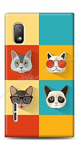 Dafoni LG Optimus L5 Four Cats Kılıf
