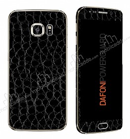 Dafoni PowerGuard Samsung Galaxy S6 Edge Ön + Arka + Yan Siyah Timsah Derisi Kaplama Sticker
