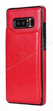 Dafoni Retro Samsung Galaxy Note 8 Cüzdanlı Kırmızı Rubber Kılıf