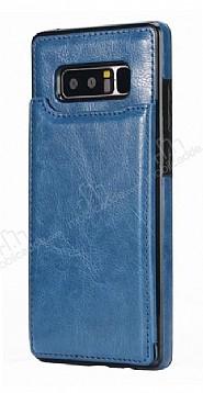 Dafoni Retro Samsung Galaxy Note 8 Cüzdanlı Lacivert Rubber Kılıf