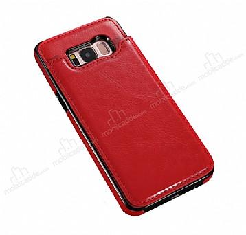 Dafoni Retro Samsung Galaxy S8 Plus Cüzdanlı Kırmızı Rubber Kılıf