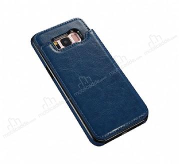 Dafoni Retro Samsung Galaxy S8 Plus Cüzdanlı Lacivert Rubber Kılıf