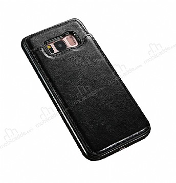 Dafoni Retro Samsung Galaxy S8 Plus Cüzdanlı Siyah Rubber Kılıf