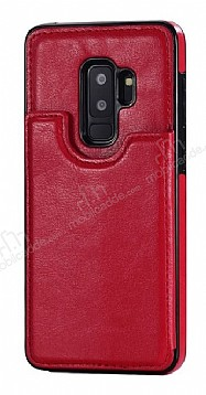 Dafoni Retro Samsung Galaxy S9 Cüzdanlı Kırmızı Rubber Kılıf
