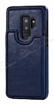Dafoni Retro Samsung Galaxy S9 Plus Cüzdanlı Lacivert Rubber Kılıf