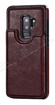Dafoni Retro Samsung Galaxy S9 Plus Cüzdanlı Kahverengi Rubber Kılıf