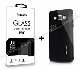 Dafoni Samsung Galaxy A5 Siyah Kılıf ve Eiroo Cam Ekran Koruyucu Seti
