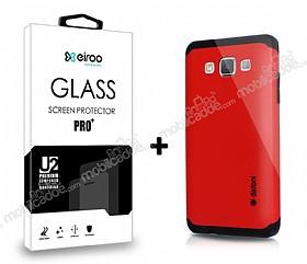 Dafoni Samsung Galaxy A5 Kırmızı Kılıf ve Eiroo Cam Ekran Koruyucu Seti