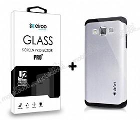 Dafoni Samsung Galaxy A5 Silver Kılıf ve Eiroo Cam Ekran Koruyucu Seti