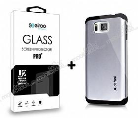 Dafoni Samsung Galaxy Alpha Silver Kılıf ve Eiroo Cam Ekran Koruyucu Seti