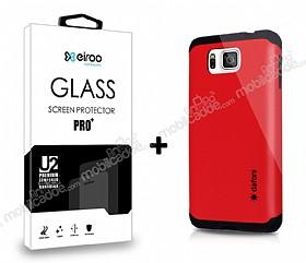 Dafoni Samsung Galaxy Alpha Kırmızı Kılıf ve Eiroo Cam Ekran Koruyucu Seti