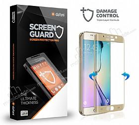 Dafoni Samsung Galaxy S6 Edge Curve Darbe Emici Gold Ekran Koruyucu Film