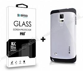 Dafoni Samsung N9100 Galaxy Note 4 Silver Kılıf ve Eiroo Cam Ekran Koruyucu Seti