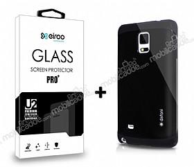 Dafoni Samsung N9100 Galaxy Note 4 Siyah Kılıf ve Eiroo Cam Ekran Koruyucu Seti