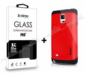 Dafoni Samsung N9100 Galaxy Note 4 Kırmızı Kılıf ve Eiroo Cam Ekran Koruyucu Seti