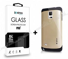 Dafoni Samsung N9100 Galaxy Note 4 Gold Kılıf ve Eiroo Cam Ekran Koruyucu Seti