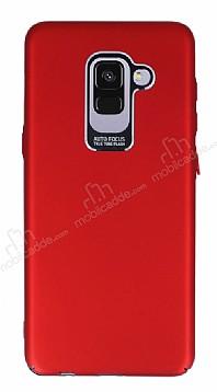 Dafoni Shade Samsung Galaxy A8 2018 Kamera Korumalı Kırmızı Rubber Kılıf