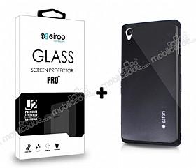 Dafoni Sony Xperia Z3 Siyah Kılıf ve Eiroo Cam Ekran Koruyucu Seti