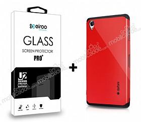 Dafoni Sony Xperia Z3 Kırmızı Kılıf ve Eiroo Cam Ekran Koruyucu Seti