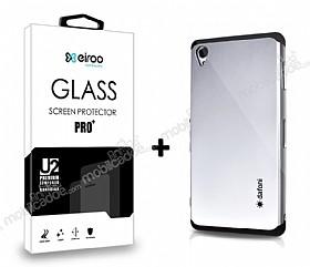 Dafoni Sony Xperia Z3 Silver Kılıf ve Eiroo Cam Ekran Koruyucu Seti