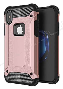 Dafoni Tough Power iPhone X Ultra Koruma Rose Gold Kılıf