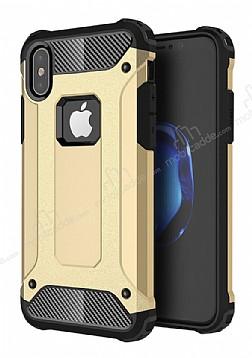 Dafoni Tough Power iPhone X Ultra Koruma Gold Kılıf
