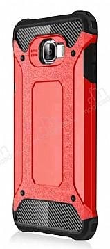 Dafoni Tough Power Samsung Galaxy C7 Pro Ultra Koruma Kırmızı Kılıf