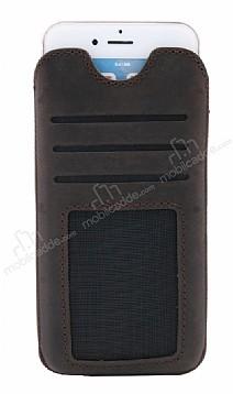 Dafoni Universal Large Çekmeli Kartlıklı Gerçek Deri Koyu Kahverengi Kılıf