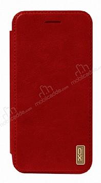 XO iPhone X Cüzdanlı İnce Yan Kapaklı Kırmızı Deri Kılıf