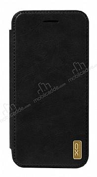 XO iPhone X Cüzdanlı İnce Yan Kapaklı Siyah Deri Kılıf