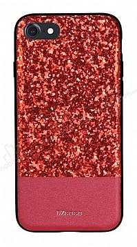 DZGOGO iPhone 7 / 8 Işıltılı Kırmızı Deri Kılıf