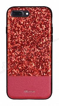 DZGOGO iPhone 7 Plus / 8 Plus Işıltılı Kırmızı Deri Kılıf