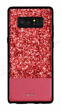 DZGOGO Samsung Galaxy Note 8 Işıltılı Kırmızı Deri Kılıf