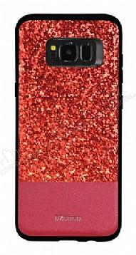 DZGOGO Samsung Galaxy S8 Plus Işıltılı Kırmızı Deri Kılıf