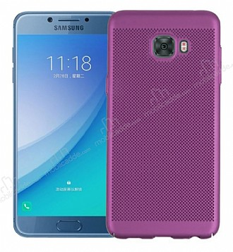 Eiroo Air to Dot Samsung Galaxy C5 Pro Delikli Mor Rubber Kılıf