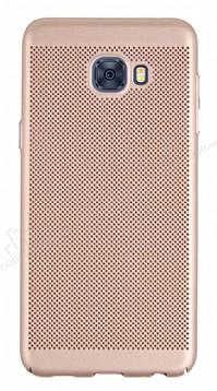 Eiroo Air To Dot Samsung Galaxy C7 Pro Delikli Gold Rubber Kılıf