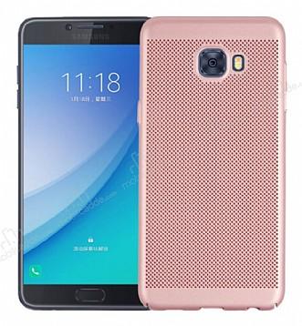 Eiroo Air To Dot Samsung Galaxy C9 Pro Delikli Rose Gold Rubber Kılıf