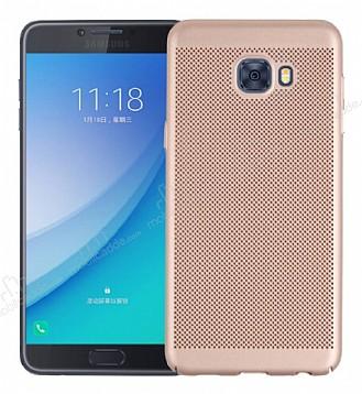 Eiroo Air To Dot Samsung Galaxy C9 Pro Delikli Gold Rubber Kılıf