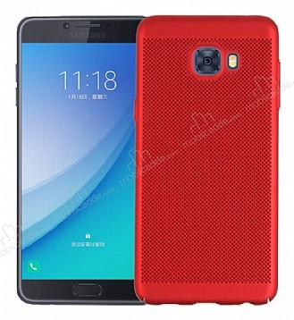 Eiroo Air To Dot Samsung Galaxy C9 Pro Delikli Kırmızı Rubber Kılıf