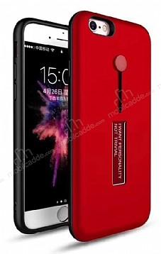 Eiroo Alloy Fit iPhone 6 / 6S Selfie Yüzüklü Kırmızı Metal Kılıf