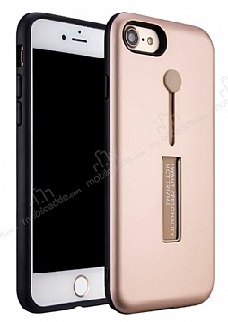 Eiroo Alloy Fit iPhone 7 / 8 Selfie Yüzüklü Rose Gold Metal Kılıf