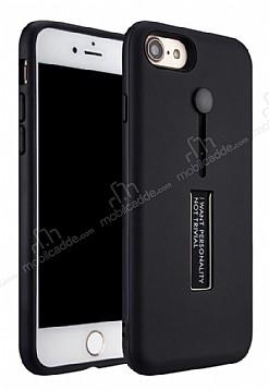 Eiroo Alloy Fit iPhone 7 / 8 Selfie Yüzüklü Siyah Metal Kılıf