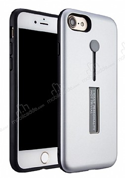 Eiroo Alloy Fit iPhone 7 / 8 Selfie Yüzüklü Silver Metal Kılıf