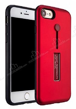Eiroo Alloy Fit iPhone 7 / 8 Selfie Yüzüklü Kırmızı Metal Kılıf