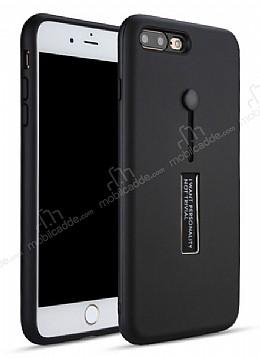 Eiroo Alloy Fit iPhone 7 Plus / 8 Plus Selfie Yüzüklü Siyah Metal Kılıf
