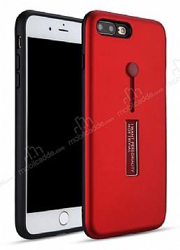 Eiroo Alloy Fit iPhone 7 Plus / 8 Plus Selfie Yüzüklü Kırmızı Metal Kılıf