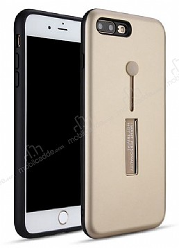 Eiroo Alloy Fit iPhone 7 Plus / 8 Plus Selfie Yüzüklü Gold Metal Kılıf
