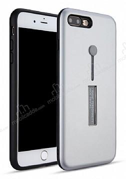 Eiroo Alloy Fit iPhone 7 Plus / 8 Plus Selfie Yüzüklü Silver Metal Kılıf