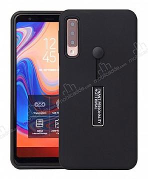 Eiroo Alloy Fit Samsung Galaxy A7 2018 Selfie Yüzüklü Siyah Kılıf